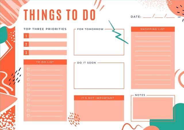 مدیریت زمان با لیست انجام کار